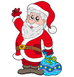 cute santa claus with gifts vector image