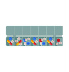 Daily pill box organizer pills and capsules in vector
