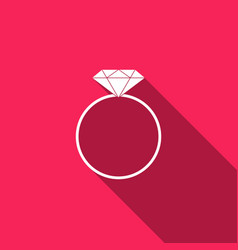 diamond engagement ring icon with long shadow vector image