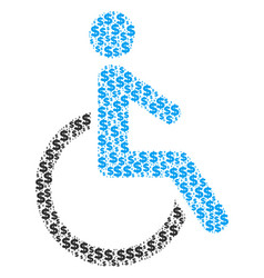 disabled person collage of dollar and dots vector image