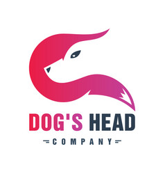 dog head animal logo design vector image