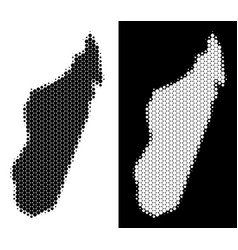 dotted halftone madagascar island map vector image