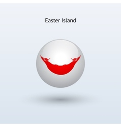 Easter Island round flag vector
