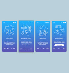 Extended reality onboarding mobile app page vector
