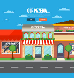 facade of pizzeria restaurant in flat design vector image