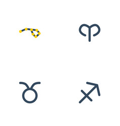Flat icons archer bull horoscope and other vector