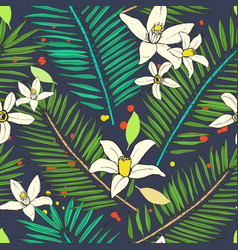 Floral seamless pattern collection with tropical vector