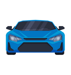 Front view blue sport car supercar vehicle vector