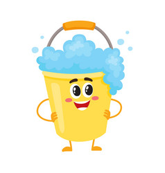 Funny soap foam bucket character with smiling vector