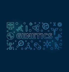Genetics blue outline banner on dark vector