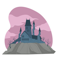 gloomy medieval castle or fortress with towers vector image