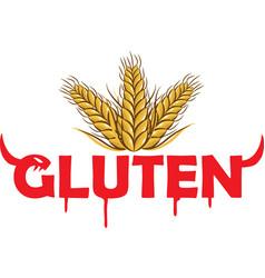 gluten devil simbol on grain background vector image
