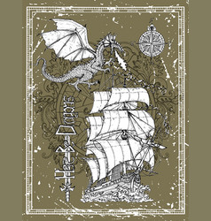 hand drawn dragon old sailboat compass vector image