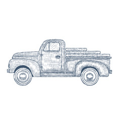 hand drawn engraved retro vintage truck vector image