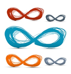 Hand Drawn Paper Infinity Symbols Set vector