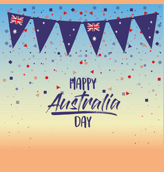 happy australia day poster with dawn sky scene vector image