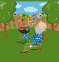 happy smiling grandpa grilling barbecue outside vector image