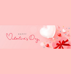 happy valentines day card design with balloon vector image