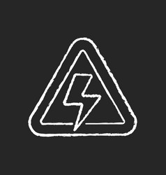 high voltage chalk white icon on black background vector image