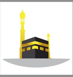 Islamic design kaaba in mecca icon for hajj vector