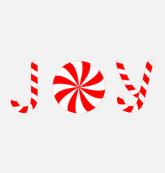 joy text lettering banner candy cane merry vector image