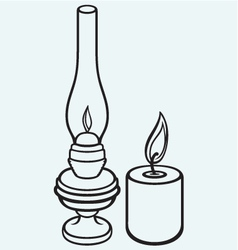 Kerosene lamp and candle vector image