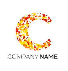 Letter c logo with orange yellow red particles vector