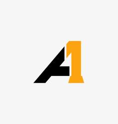 Linked logo a1 or 1a flat logo design ideas vector