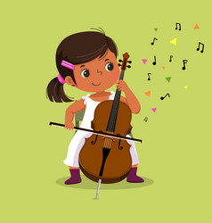 Little girl playing cello on green background vector