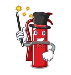 Magician fire extinguisher mascot cartoon vector