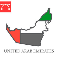 Map united arab emirates color line icon vector