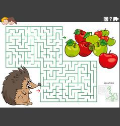 Maze educational game with cartoon hedgehog vector