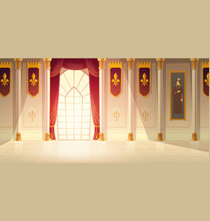Medieval castle ballroom cartoon background vector