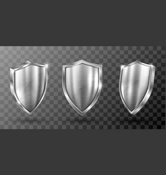 Metal shield with steel frame realistic vector
