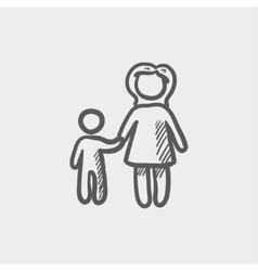 Mother and child sketch icon vector image