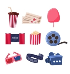 Movie Theatre Related Objects Set vector image