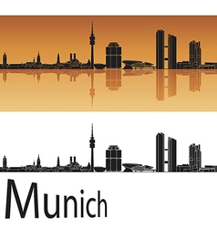 munich skyline in orange background vector image