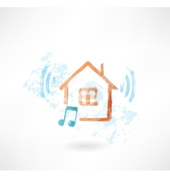 Music home grunge icon vector image