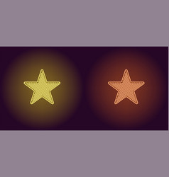 Neon icon of yellow and orange star vector