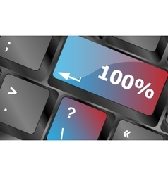 One hundred percent nature key on keyboard vector