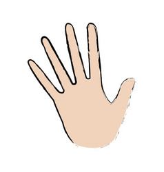 Opened palm of the hand cartoon icon vector