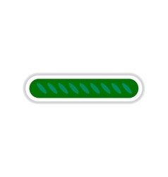 Paper sticker on white background French baguette vector