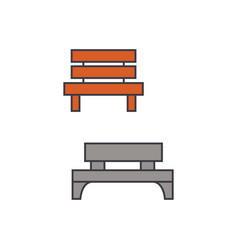 park bench line icon concept park bench flat vector image