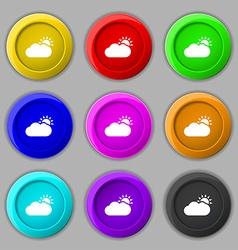 Partly Cloudy icon sign symbol on nine round vector image