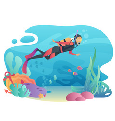 professional scuba diver man dives in the ocean vector image