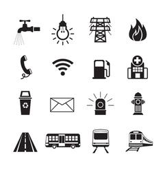 Public Utility Icons Silhouette Set vector image