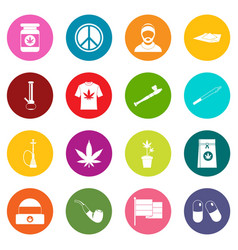 Rastafarian icons many colors set vector