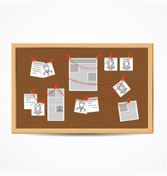Realistic 3d detailed investigation board or vector