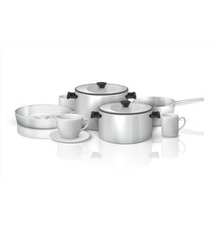 Realistic cookware 3d kitchen utensils vector