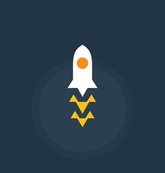 Rocket spacecraft retro-style emblem icon vector